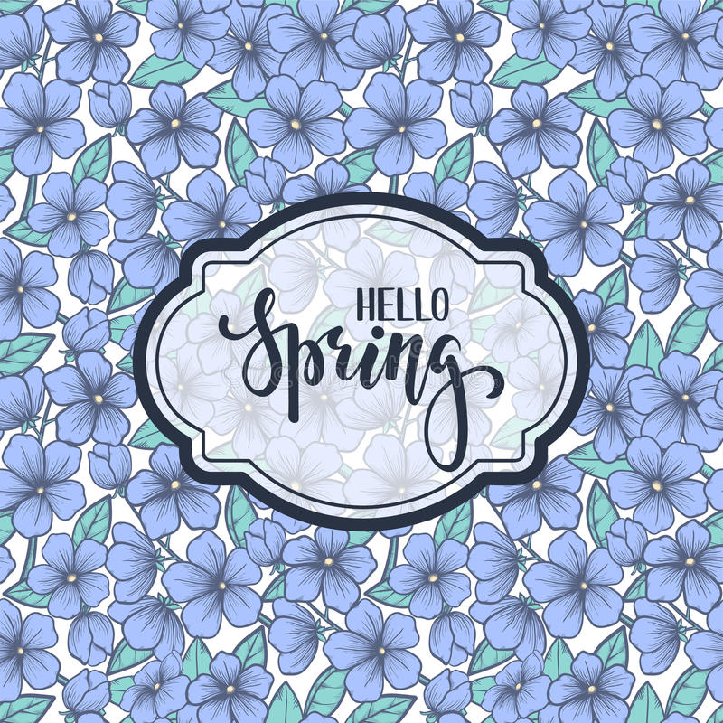 Hello Spring. Hand drawn brush pen lettering on blooming tree pattern. stock illustration