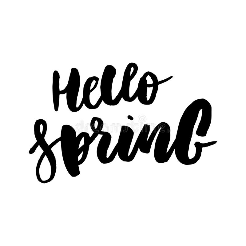 Hello Spring. Hand drawn calligraphy and brush pen lettering. design for holiday greeting card and invitation of. Seasonal spring holiday vector illustration