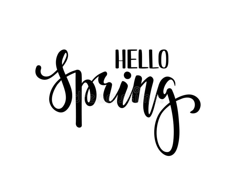 Download Hello Spring. Hand Drawn Calligraphy And Brush Pen Lettering.  Design For Holiday Greeting