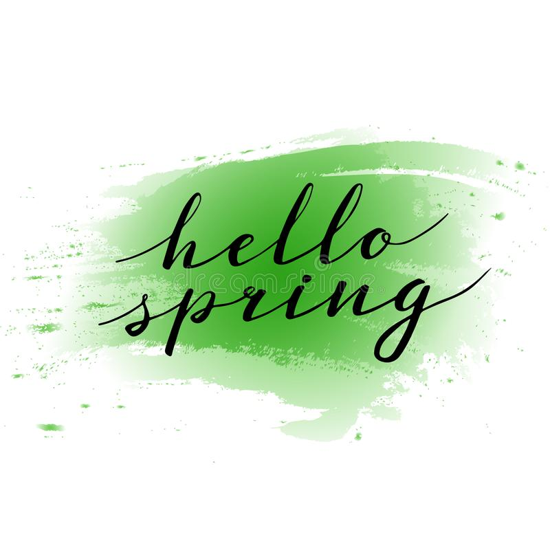 Hello Spring. Hand drawn calligraphy and brush pen lettering. design for holiday greeting and seasonal spring holiday stock illustration