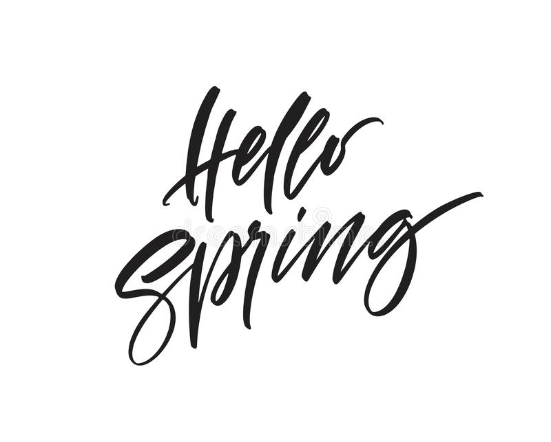 Hello Spring. Hand drawn calligraphy and brush pen lettering. Vector illustration royalty free illustration