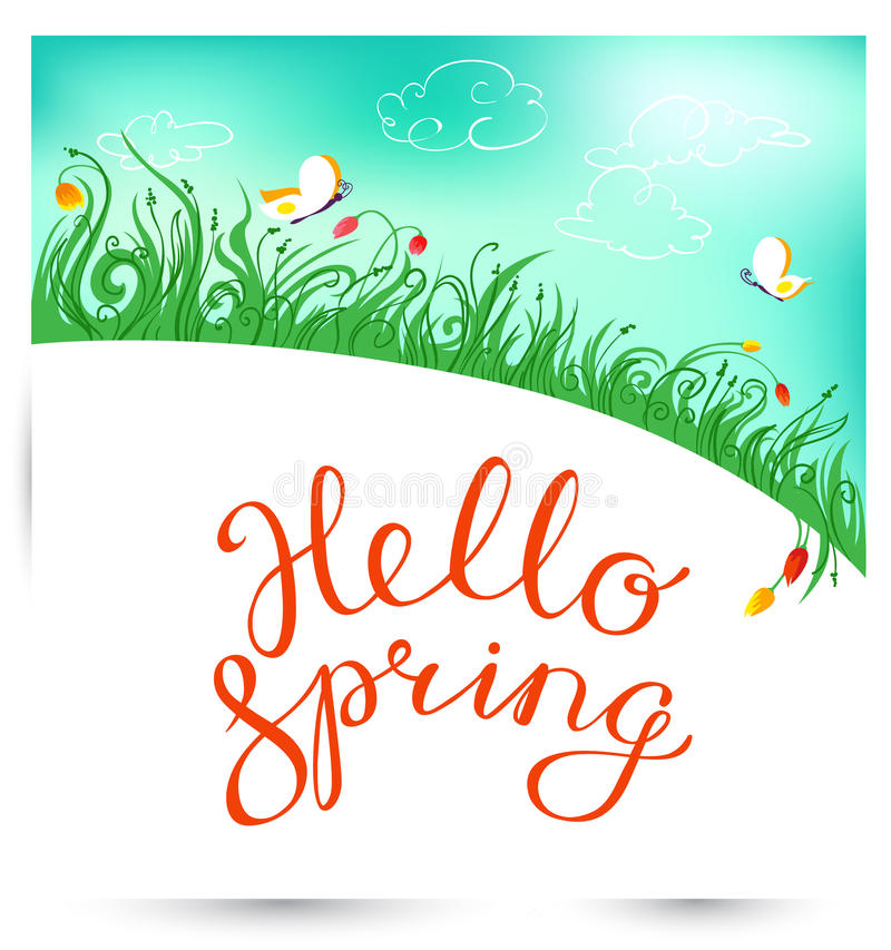 Hello Spring hand drawn lettering with flourish and leaves. Seas. Onal background with spring landscape with meadow and flowers, grass and butterfly. Vector stock illustration