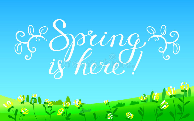Hello Spring hand drawn lettering with flourish and leaves. Seas. Onal background with spring landscape with meadow and flowers, sky and trees. Vector vector illustration