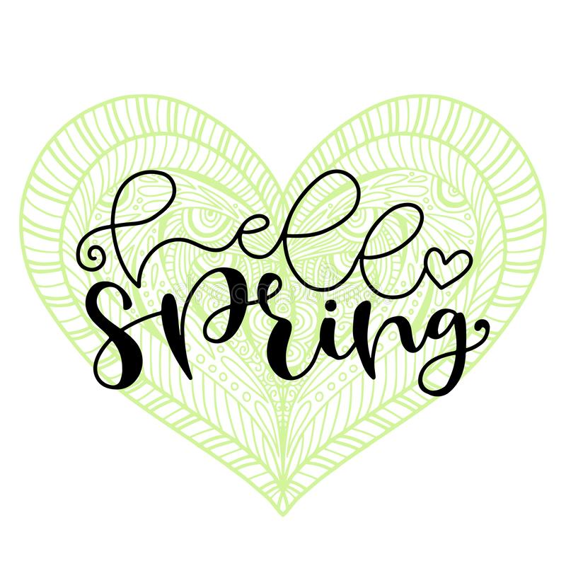 Hello Spring handwritting typography icon. Lettering and heart element for spring banner. Typographic poster. Hello Spring handwritting typography icon royalty free illustration