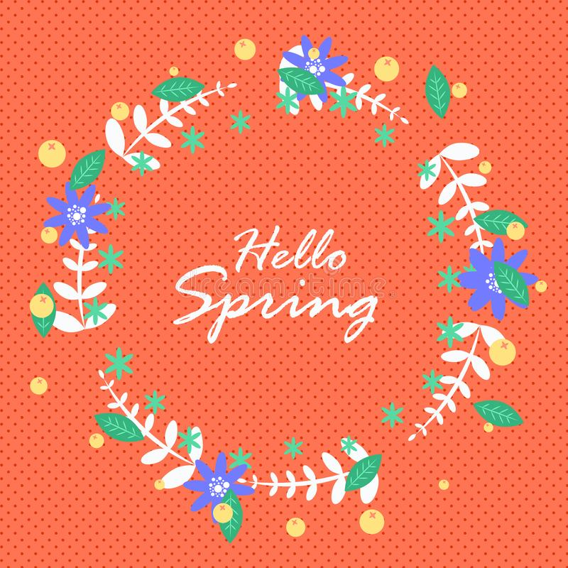 Hello spring. Hello spring greeting card with daisies. royalty free illustration