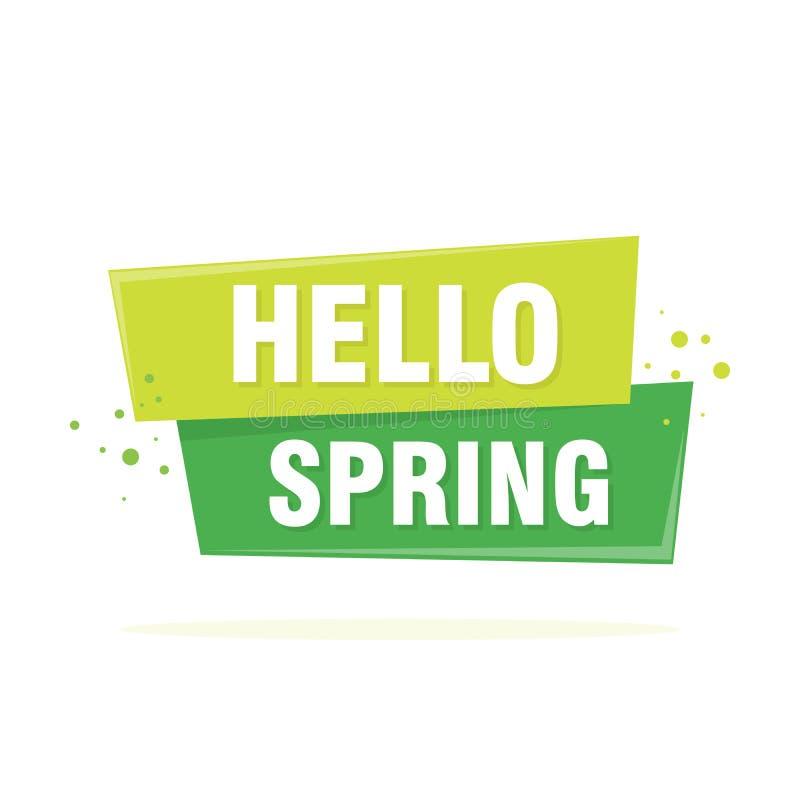 Hello Spring lettering design in green. Vector. Illustration stock illustration