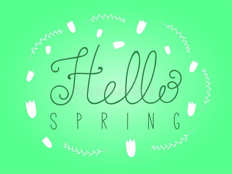 Hello Spring lettering royalty free illustration