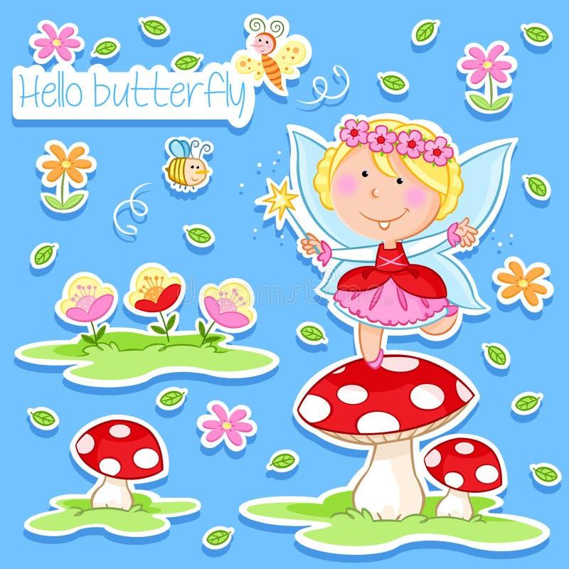 Hello Spring - Lovely little fairy and spring garden stock illustration
