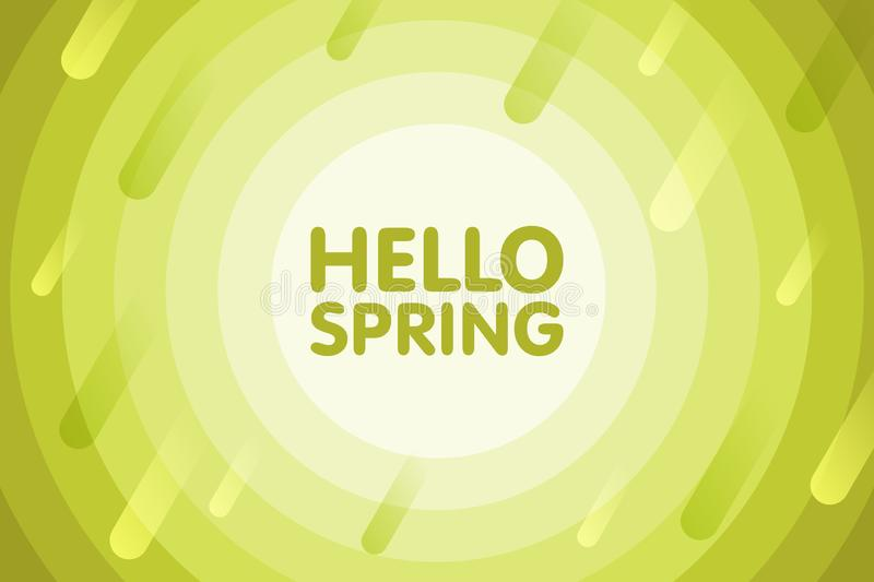 Hello spring. Modern cover design. Vector seasonal illustration. Abstract background with green geometric round. Circles vector illustration
