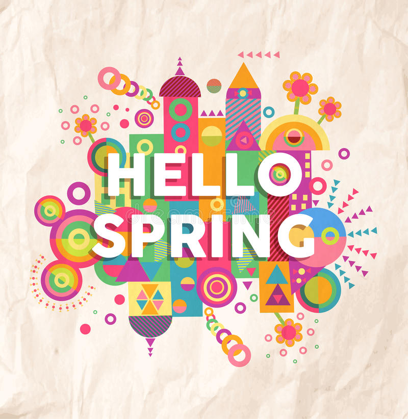 Hello spring quote poster design stock images