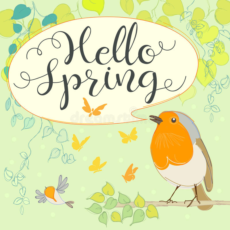 Hello spring with robin. stock illustration