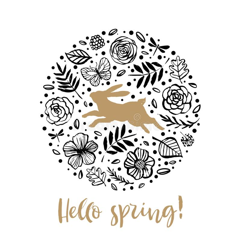Hello spring. Running silhouette of a rabbit in the flower circle. Calligraphy card. Hand drawn design elements. Handwritten mode. Rn brush lettering. Vector stock illustration