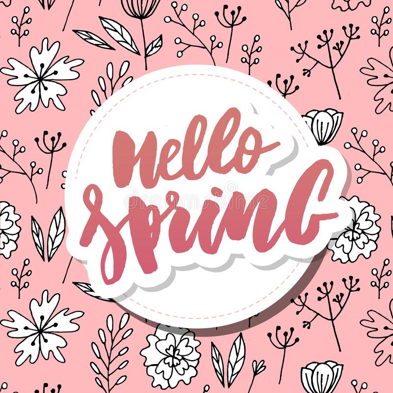 hello Spring sale background with beautiful flower stock illustration