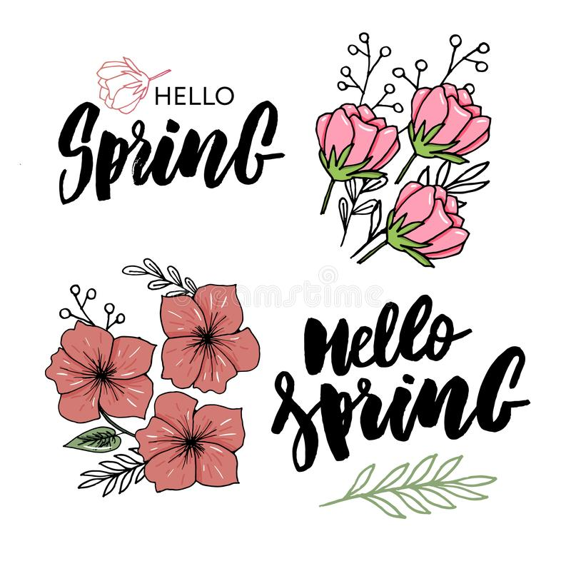 hello Spring sale background with beautiful flower royalty free illustration