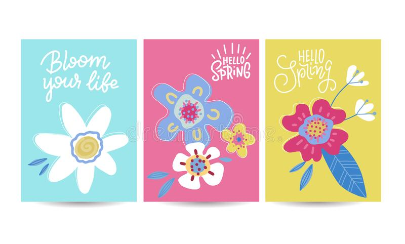Hello spring seasonal banners set. Artistic drawing posters collection with abstract flowers and plants. Floral vector illustration