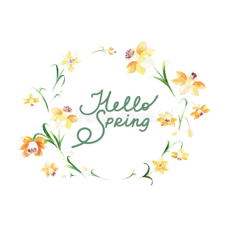 Hello spring - sweet floral card made in watercolor technique. royalty free stock photos