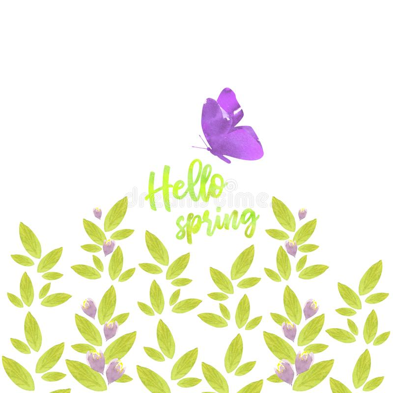 Hello spring text decorated with floral elements stock image