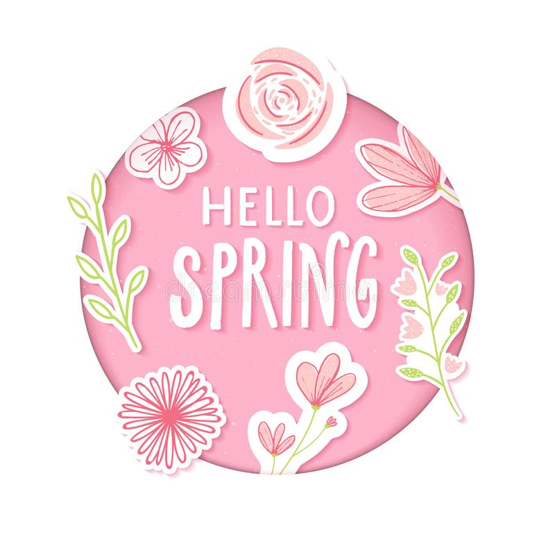 Download Hello Spring Text In Pastel Pink Paper Clip Art With Flowers And Hand Drawn Branches. Stock Vector - Illustration of design, paper: 109865248