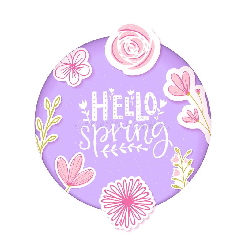 Download Hello Spring Text In Pastel Purple Paper Clip Art With Flowers And Hand Drawn Branches. Stock Vector - Illustration of applique, circle: 109865184
