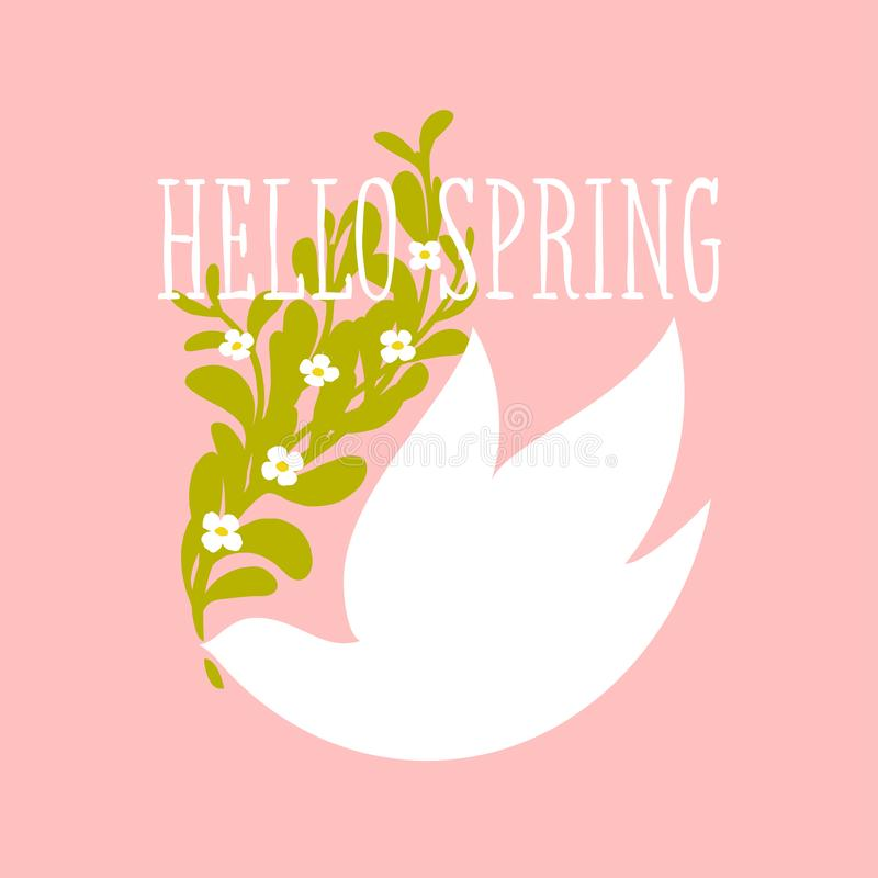 Hello spring text and white bird with flowers on a light pink vector illustration