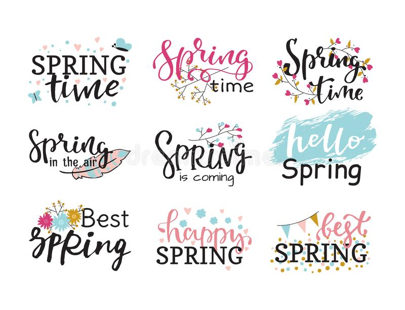 Hello spring time vector lettering text greeting card special springtime typography hand drawn Spring graphic. Hello spring time vector lettering text greeting vector illustration