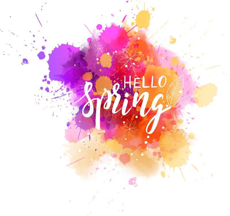 Hello spring watercolor splash royalty free illustration
