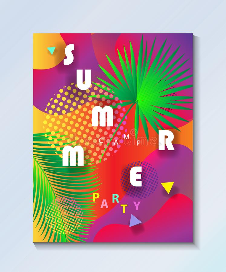 Tropical Summer kids camp party wallpaper. Hello Summer Abstract composition geometric dynamic colorful bubbles shapes. Summer Camp, kids sports party event vector illustration