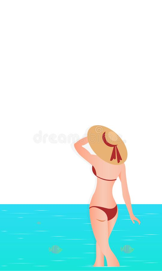 Hello Summer. Abstract girl wearing swimsuit and big hat, standing on the beach. Sea background. royalty free illustration