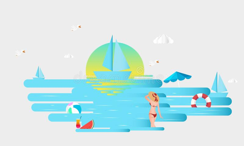 Hello Summer. Abstract girl wearing swimsuit and big hat, standing on the beach. stock illustration