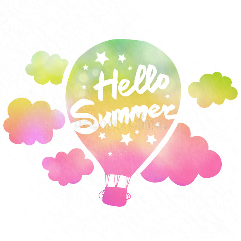 Hello summer air balloon vector illustration