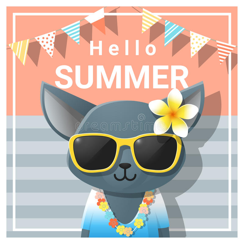 Download Hello Summer Background With Cat Wearing Sunglasses Stock Vector    Illustration Of Relax, Summertime