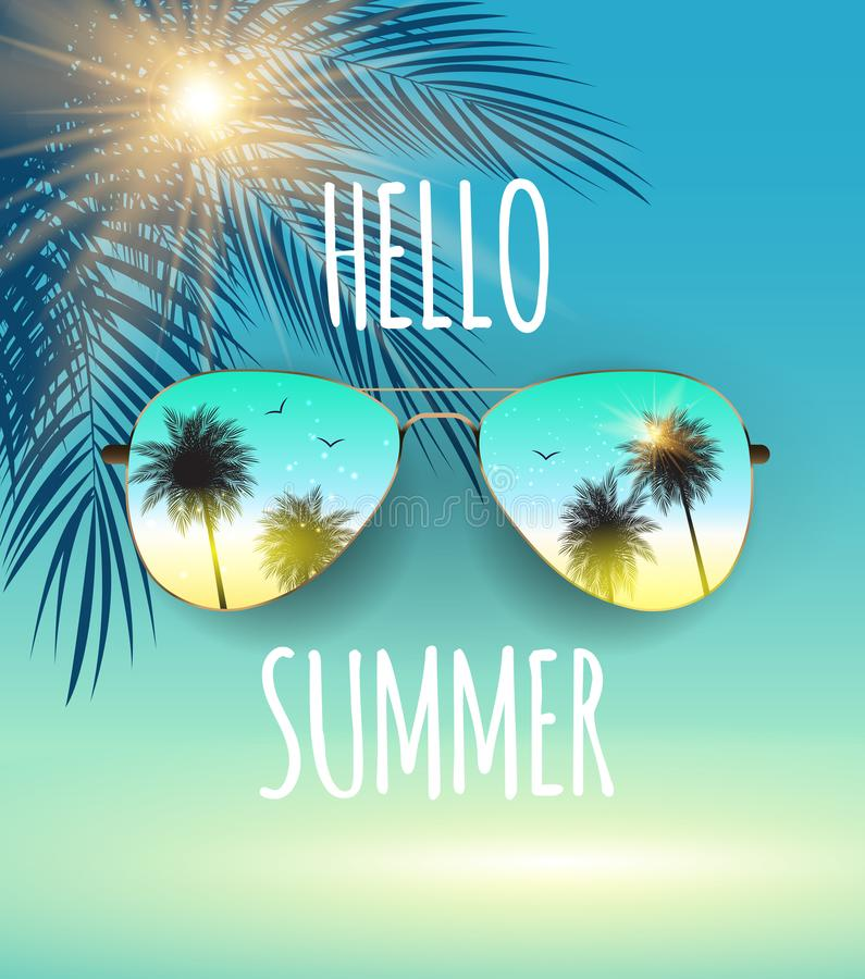 Merveilleux Download Hello Summer Background With Glass And Palm. Vector Illustration  Stock Vector   Illustration Of