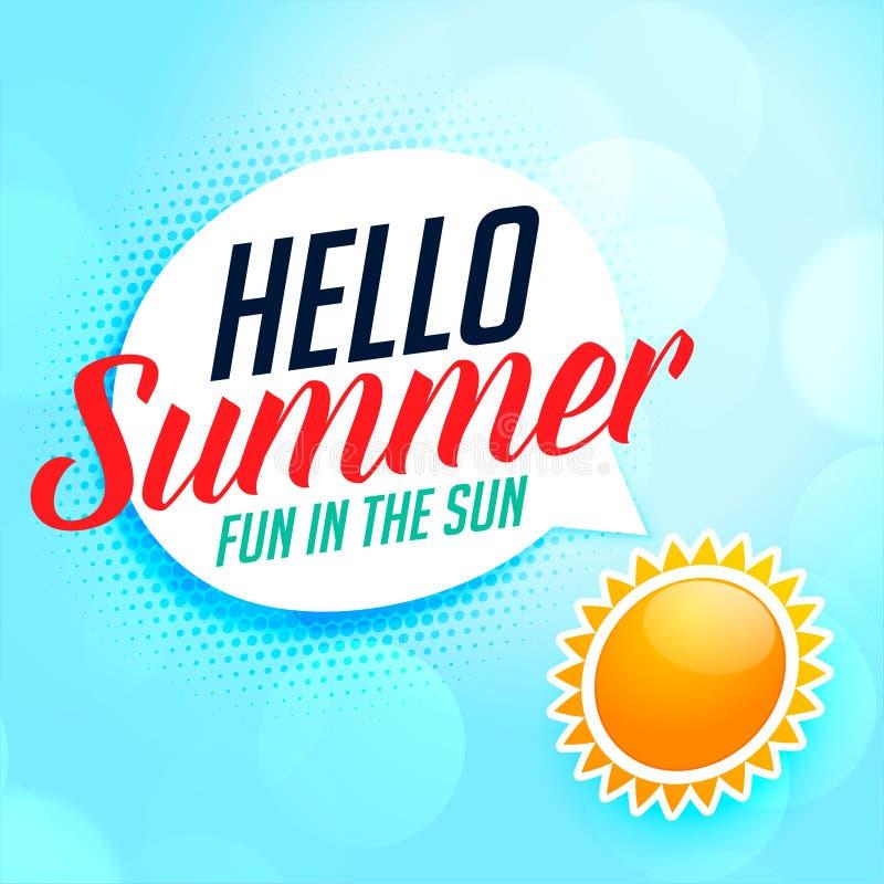 Hello summer background with sun stock illustration