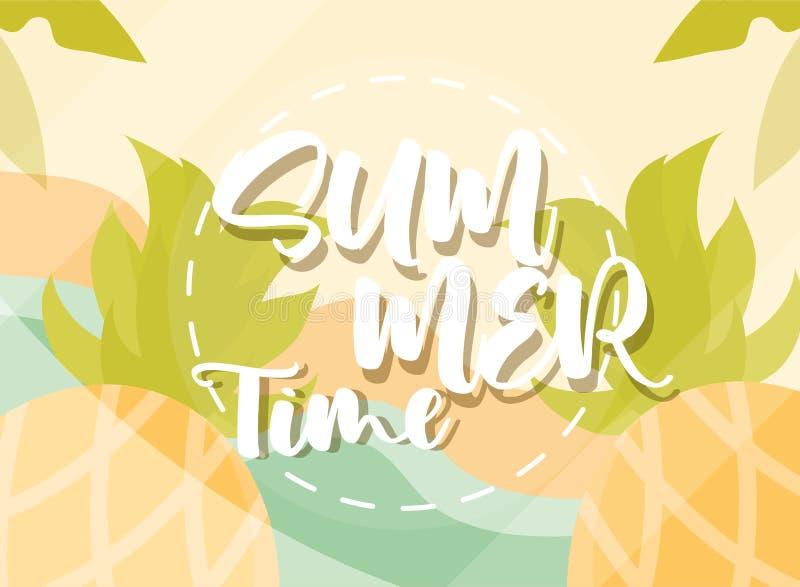 Hello summer banner, beach pineapples exotic season vacations travel concept. Vector illustration royalty free illustration