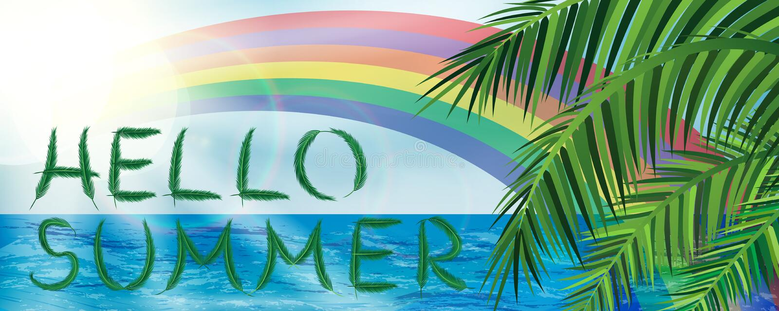 Download Hello Summer Banner With Palm Leaves And Rainbow On Sky And Ocean  Background Stock Vector