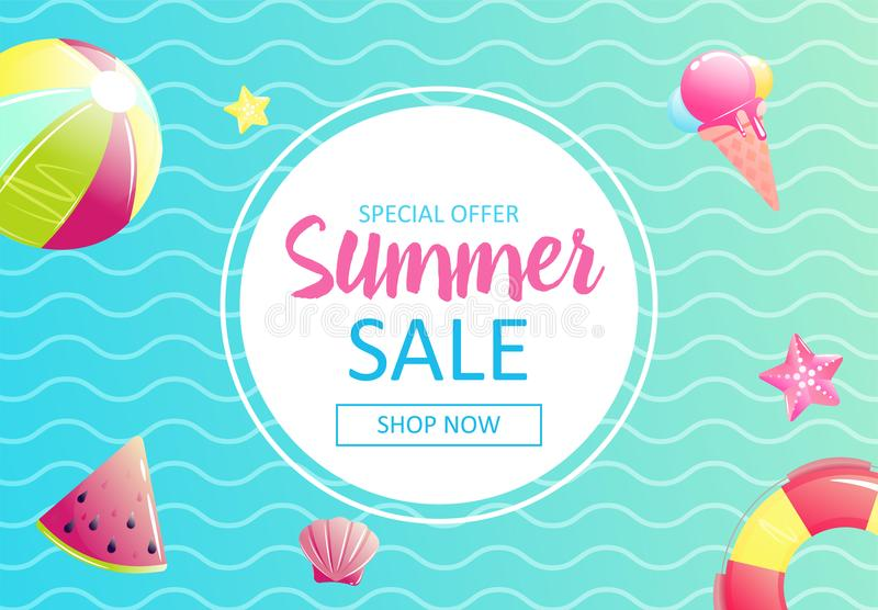 Hello summer. Banner of sale in online store. Special offer, shop now vector illustration