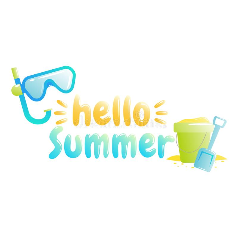 Hello summer. Banner of sale in online store. Special offer, shop now stock illustration