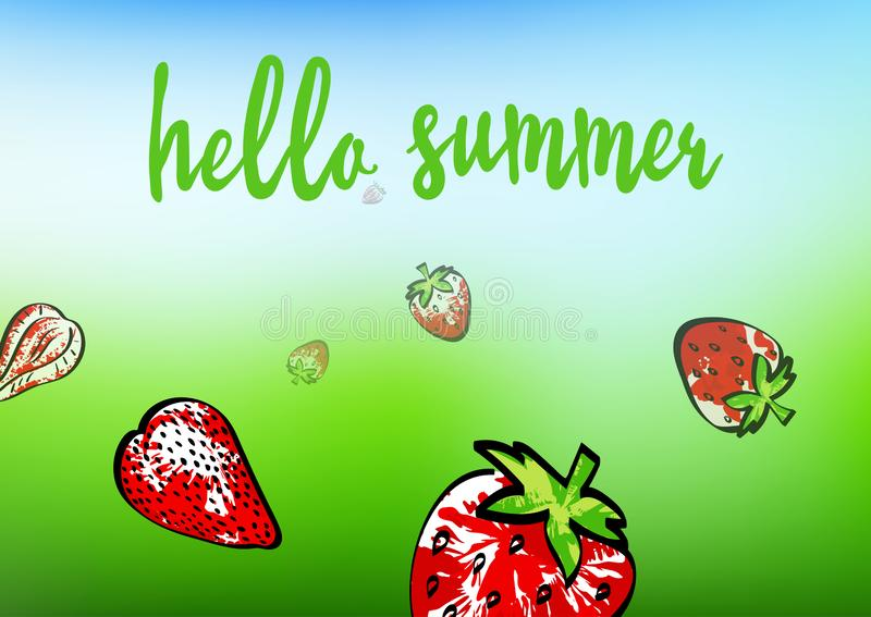Hello summer banner. Strawberry abstract composition on green and blue background. Berries grunge texture and stained. Whole royalty free illustration