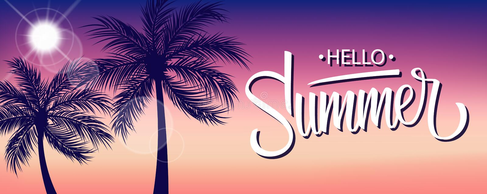 Hello Summer banner with sun and palm trees silhouette. Hand drawn lettering. Summertime background. stock illustration