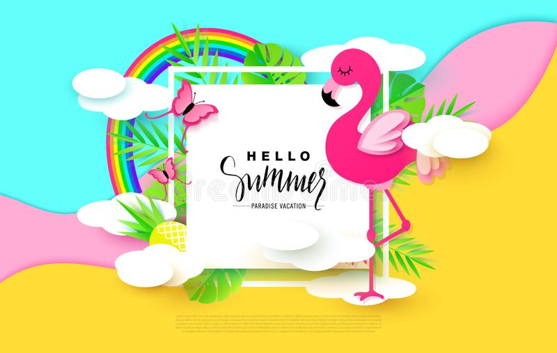 Hello Summer banner with Sweet Vacation Elements. Paper Art. Tropical plants, butterflies,pink flamingo, pineapple vector illustration