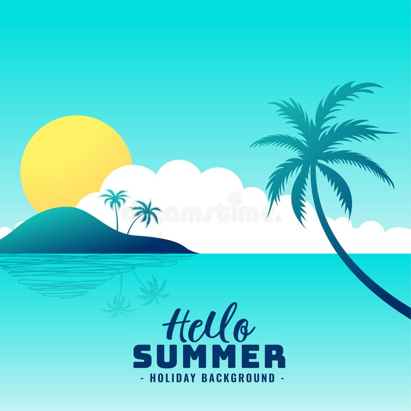 Hello summer beach paradise holiday background royalty free illustration