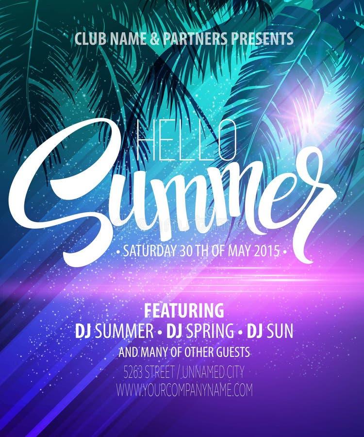 Hello Summer Beach Party Flyer. Vector Design stock image
