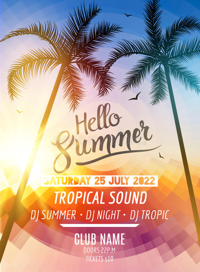 Hello Summer Beach Party. Tropic Summer fun vacation and travel. Tropical poster colorful background and palm exotic stock illustration