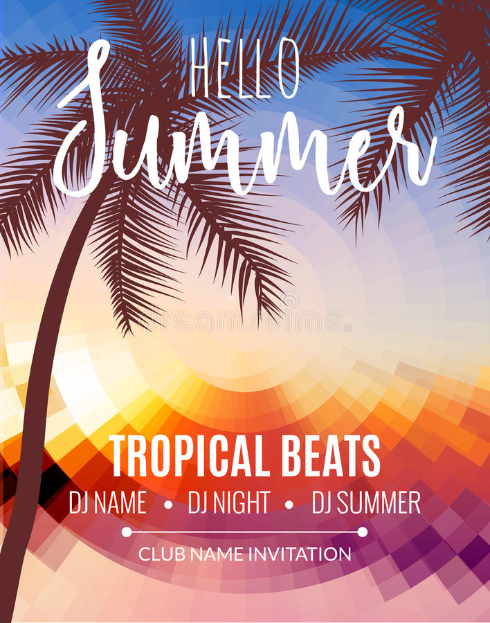 Hello Summer Beach Party. Tropic Summer vacation and travel. Tropical poster colorful background and palm exotic island vector illustration