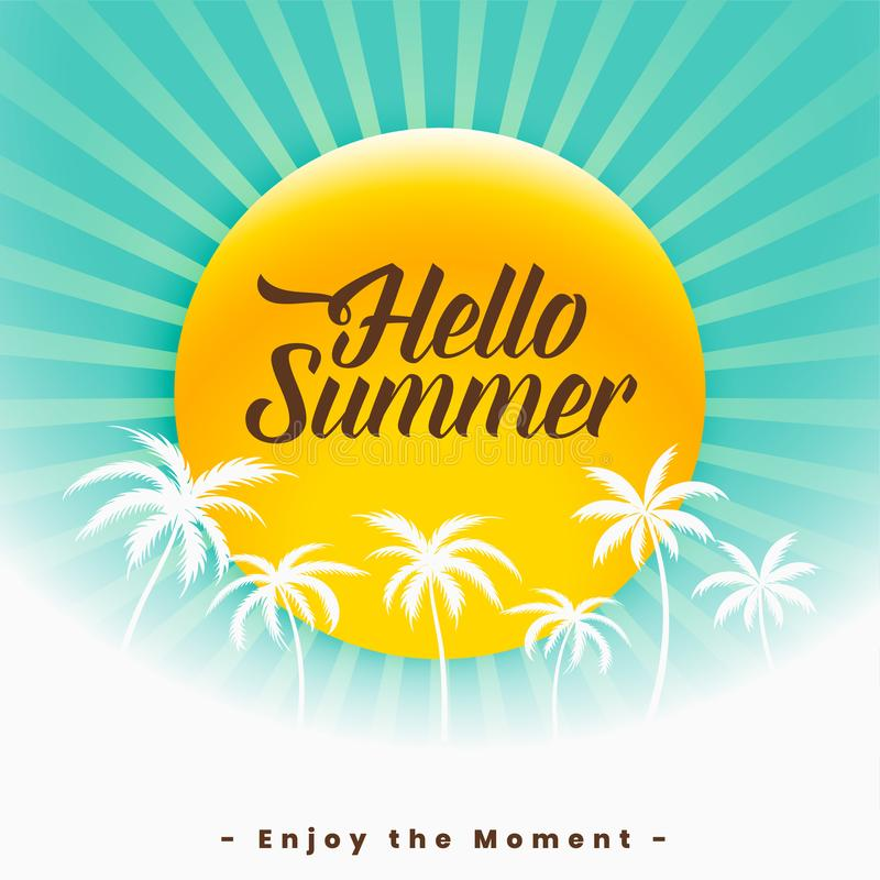 Hello summer beautiful background design royalty free illustration