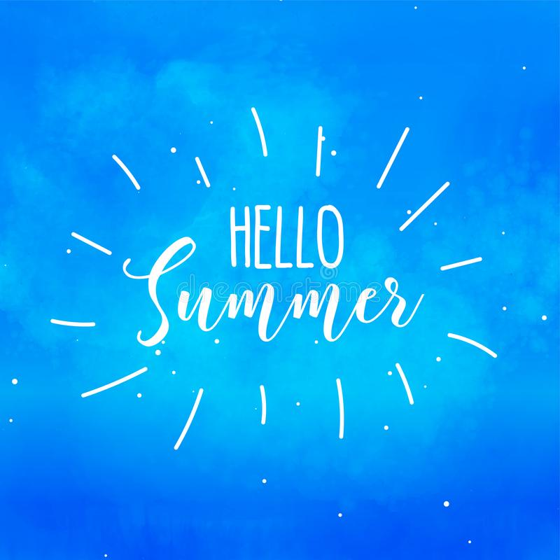 Hello summer blue watercolor background royalty free illustration
