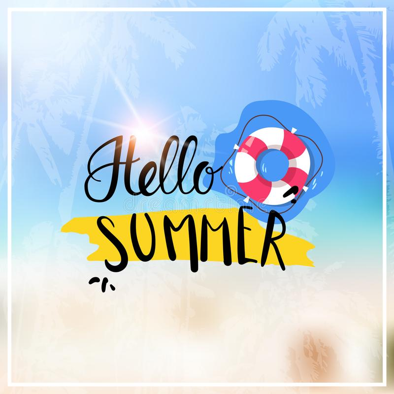 Background Of Blurred Beach And Sea Waves With Bokeh: Hello Summer Holidays Lettering Background Stock Vector