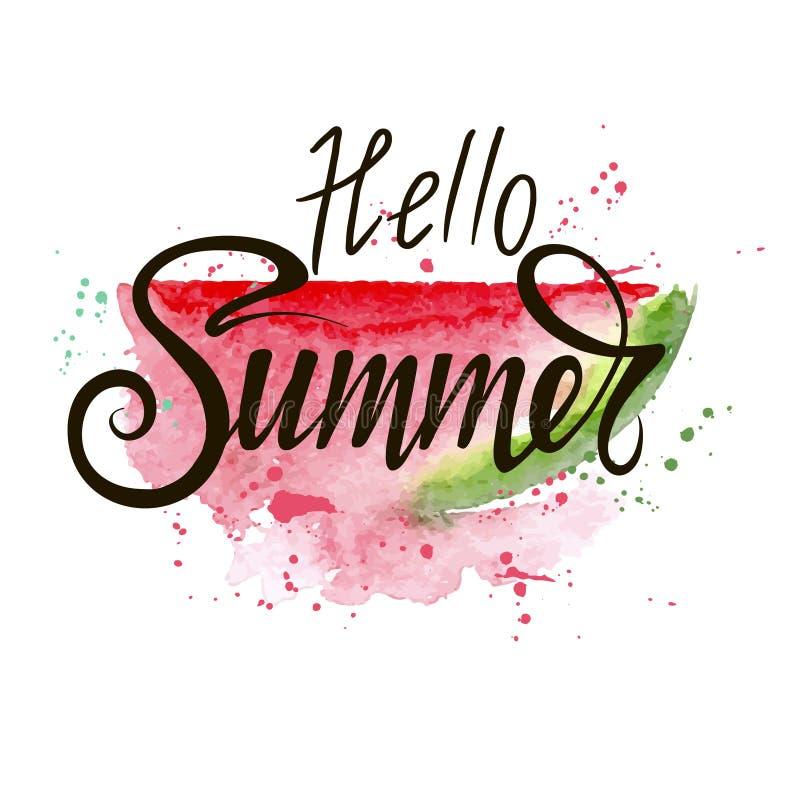 Hello summer bright illustration royalty free illustration