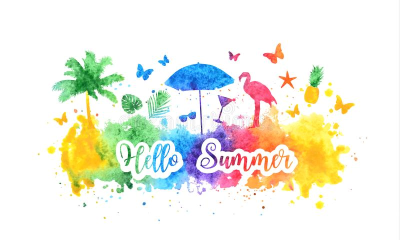 Hello summer bright rainbow banner, postcard. Watercolor splash background and summer silhouettes of palm tree, flamingo vector illustration