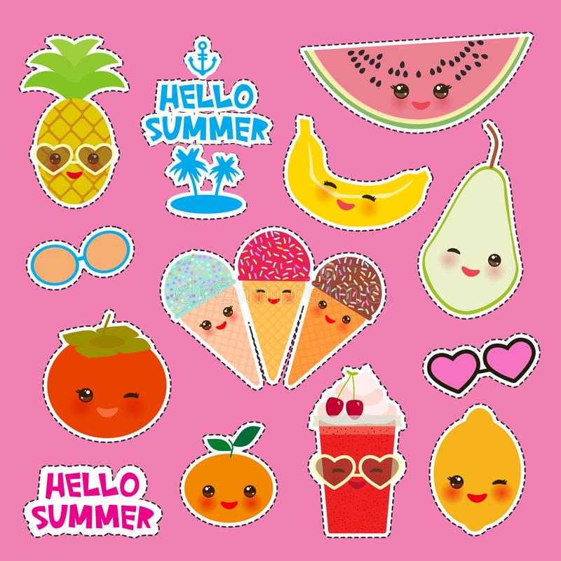 Hello Summer bright tropical card banner design, fashion patches badges stickers. Exotic fruits, pineapple, cherry smoothie cup, royalty free illustration